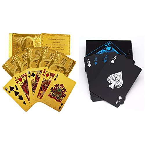 CARE CASE- Set of 2-Unique Black & Golden 24 K Gold Foil Plated Waterproof Good Quality Colorful Deck Poker Dollar Playing Cards Plastic Deck Poker Playing Card