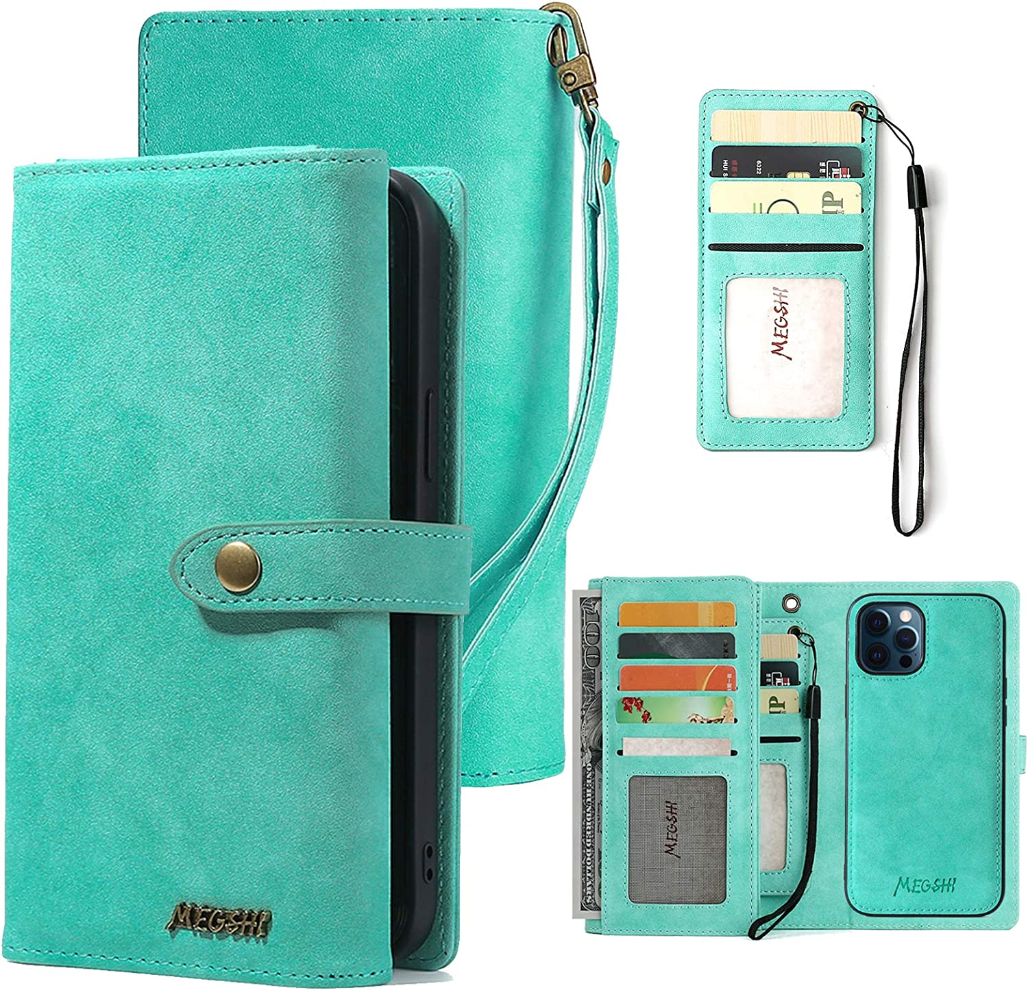 Wallet Case for iPhone 12 Pro Max, eVord 2 in 1 Vegan Leather Detachable Magnetic Wallet Pocket Clutch Folio Flip Credit Card Slots Removable Sleeve Shock Protection Cover Wrist Strap 6.7Inch Green