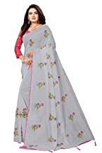 TRIPZIRA Women's self designed Chanderi cotton saree With Mirror Work Blouse Piece