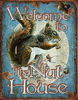 Desperate Enterprises Welcome to The Nut House Tin Sign, 12.5