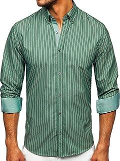 BOLF Hombre Camisa a Cuadros de Manga Larga Cuello Americano Camisa de Algodón Slim fit Estilo Casual Mix 2B2