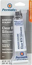 Permatex 80050 Clear RTV Silicone Adhesive Sealant, 3 oz