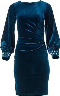 Jessica Howard womens Velvet Side Tuck Sheath Dress with Balloon Sleeves Cocktail Dress