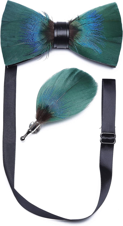 RBOCOTT Juego de corbata y broches de plumas naturales hechos a mano para hombre