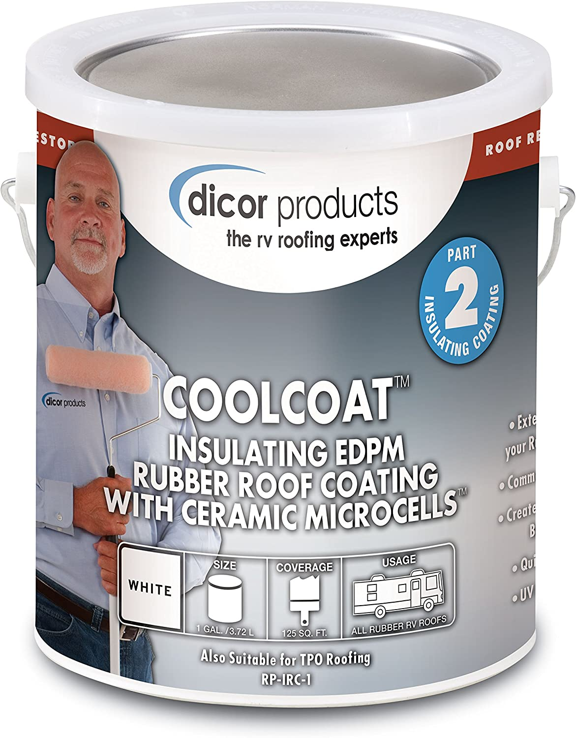 Dicor RP-IRCT-1 CoolCoat Insulating EPDM Roof Coating - 1 Gallon, Tan