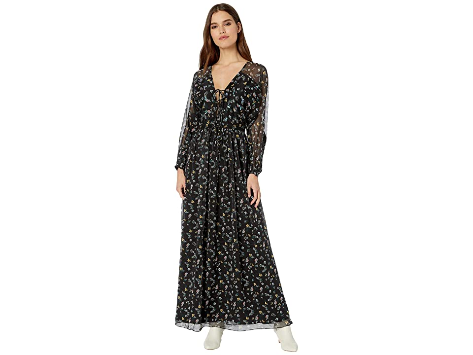 b7c06eb7c933 Juicy Couture Floating Floral Maxi Dress (Pitch Black Floating Floral) Women