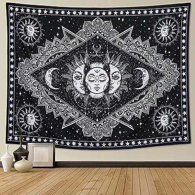 Dremisland Tapiz de pared psicodélico con diseño de sol ardiente en blanco y negro con estrellas para colgar en la pared con caras fractales de mandala (caras, 130 x 150 cm)