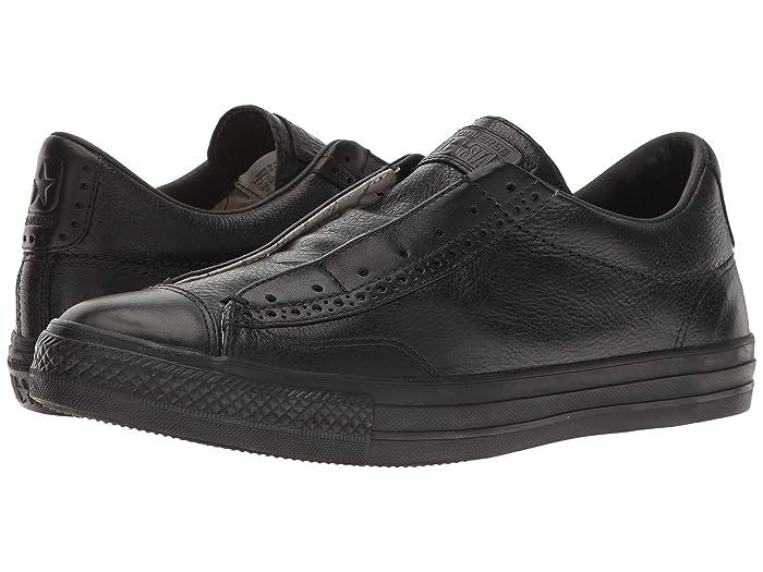 Converse by John Varvatos Leather Vintage Slip On Sneaker Black Mono (7 Women 5 Men M US)