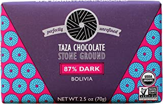 Taza Chocolate Organic Origin Bar 87% Dark Stone Ground, Bolivia, 3 Ounce (Pack of 10), Vegan