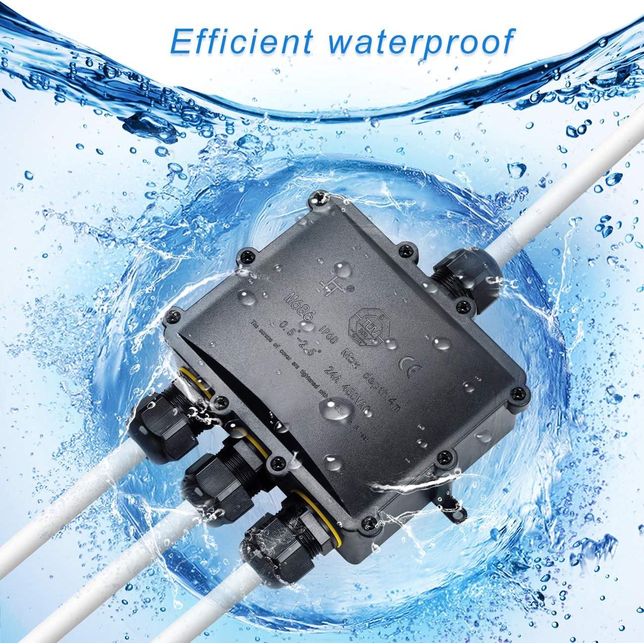 IP68 cavi scatola di serraggio diametro cavo 4 mm connettore cavo esterno,scatola cavi di terra 14 mm Scatola di giunzione professionale impermeabile HAUSPROFI 4 vie