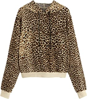 Women's Causal Sweatshirt Leopard Long Sleeve Drawstring Hoodies Lightweight Pullover Tops