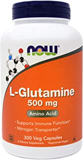 Now L-Glutamine 500 mg, 300 Vegan Capsules - Non-GMO, Vegan, Kosher