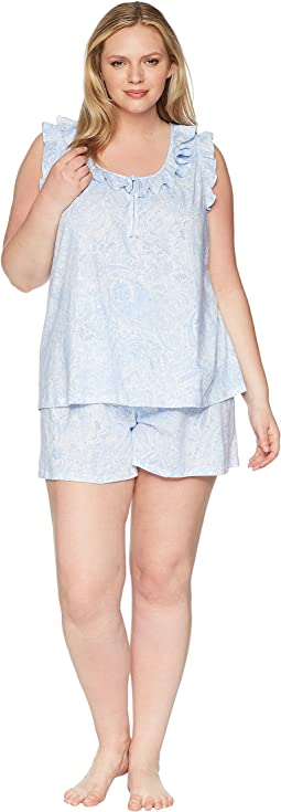 Plus Size Sleeveless Ruffle Boxer Pajama Set