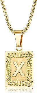 قلادة FUNRUN مجوهرات الفولاذ المقاوم للصدأ الأولي قلادة للرجال النساء مطلية بالذهب حرف مربع قلادة الأبجدية 26 A-Z