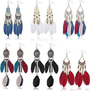 Florideco 6 Pairs Feather Earrings for Women Bohemian Fringe Tassel Drop Dangle Longs Earrings Dream Catcher Boho
