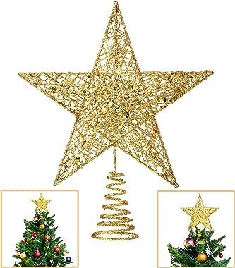 Lodou Étoile de sapin de Noël à 5 branches - Doré pailleté - 20,3 cm