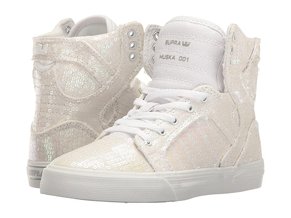 Supra Kids Skytop (Little Kid/Big Kid) (White Sequin) Girls Shoes