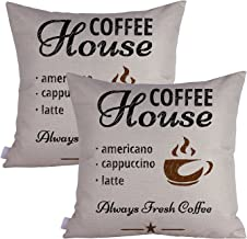 Queenie® - 2 Pcs All about Coffee Quotable Quotes Meaningful English Writing Decorative Pillowcase Thick Cotton Linen Cushion Cover 18 X 18 Inch 45 X 45 Cm (Coffee House)