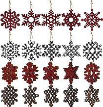 Buffalo Plaid Christmas Wooden Snowflake Ornament Snowflakes Wood Slice Craft Wood Set with Twine for DIY Craft Christmas ...