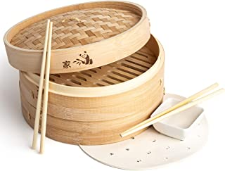 Prime Home Direct 12 inch Bamboo Steamer Basket, 2 Tier Food Steamer, Natural Bamboo Dumpling Steamer with Lid contains 2 Pair of Chopsticks, 1 Sauce Dish & 50 Wax Papers Liners - Steam Cooker