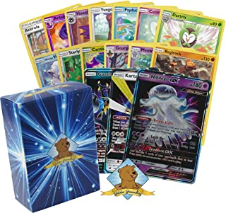 Pokemon 100 Card Lot Bundle! with 1 Ultra Beast GX Rare! Rares Foils and Common/Commons! Includes Golden Groundhog Deckbox!