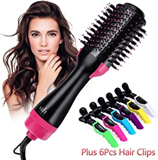 Hot Air Brush,ONME One Step Hair Dryer & Volumizer Multi-functional 3-in-1 Salon Negative Ion Hair Straightener & Curly Hair Comb include 6pcs Plastic Alligator Hair Clips