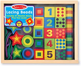 Melissa & Doug Wooden Lacing Beads in a Box (Developmental Toys, Easy to Assemble, 27 Beads and 2 Laces, 9.65″ H × 7.55″ W × 1.45″ L, Great Gift for Girls and Boys - Best for 3, 4, and 5 Year Olds)