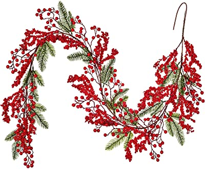 Light Green Meiliy 6.3FT Red Berry Christmas Garland with Pine Cones Artificial Holly Berry Garland Indoor Outdoor Fireplace Mantle Decoration Winter Holiday New Year Decor