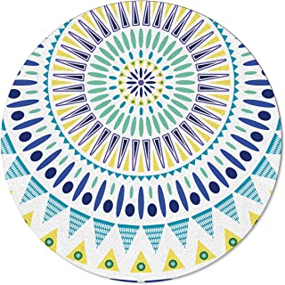 OneHoney Round Area Rugs, 5 Feet Colorful Circle Indian Mandala Indoor Throw Runner Rug Entryway Doormat Floor Carpet Pad Yoga Mat for Bedroom Living Room Bohemian Style