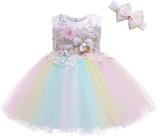 Weileenice Baby Girl Christening Baptism Dress Party Dresses Pageant Birthday Formal Gown for Toddler