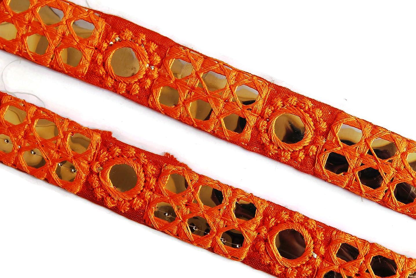 Idukaancrafts Orange Bridal Dress Trim 04 Yd 01