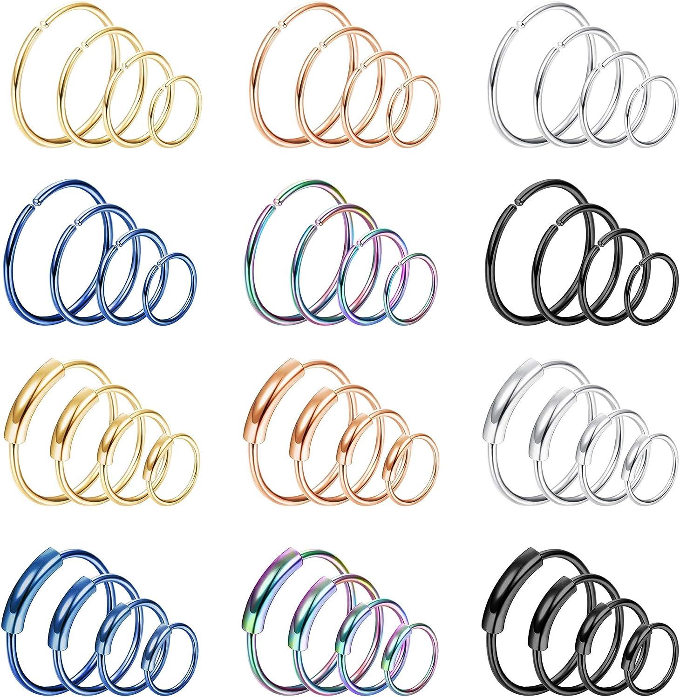 YADOCA 48 Pcs 20G 316L Stainless Steel Fake Nose Ring Hoop Seamless Piercings Set for Men Women Cartilage Hoop Septum Piercing 6/8/10/12mm