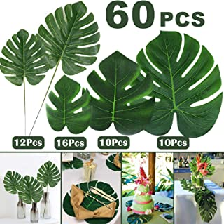 60 Pcs Artificial Tropical Palm Leaves,Faux Stems Tropical Plant Leaves Tropical Party Supplies Palm Monstera Leaves,Simulation Leaf Hawaiian Luau Party Jungle Theme Table Decorations Black Friday