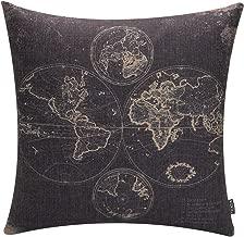 TRENDIN 18 X 18 Vintage Black World Map Cotton Linen Throw Pillow Case Cushion Cover (PL017TR)