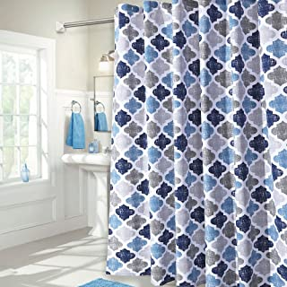 Haperlare Quatrefoil Fabric Shower Curtain, Geometric Pattern Shower Curtain for Bathroom Showers and Bathtub, Cotton Blend Fabric Shower Curtain for Bathroom Decoration, 72