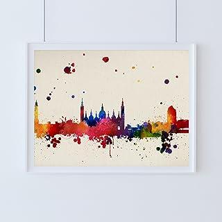 Nacnic Lámina Ciudad de Zaragoza. Skyline Estilo Acuarela y explosión de Color. Poster tamaño A3 Impreso en Papel 250 Gramos y tintas Decoración del hogar. Diseño al Mejor Precio.