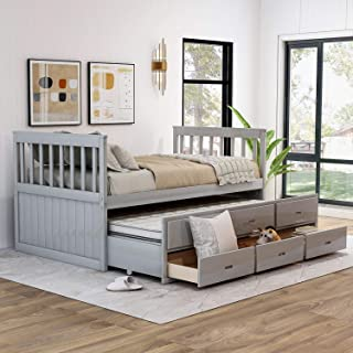 Danxee Twin Size Bed Storage Platform Bed with Trundle and Drawers Captain's Daybed with Headboard and Footboard Bedroom Furniture for Kids Teens Guests (Grey)