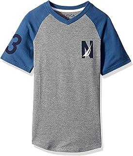 Nautica Boys' Short Sleeve Colorblock V-Neck T-Shirt