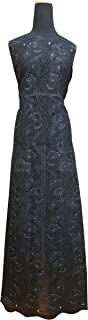 5Yds 100% Cotton Premium Swiss Voile Lace Fabric for Women , Fashion Dress , Party , Aso-Ebi(2113) (BLACK)