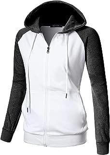 Womens Comfortable Long Sleeve Lightweight Raglan Zip-up Hoodie with Kanga Pocket