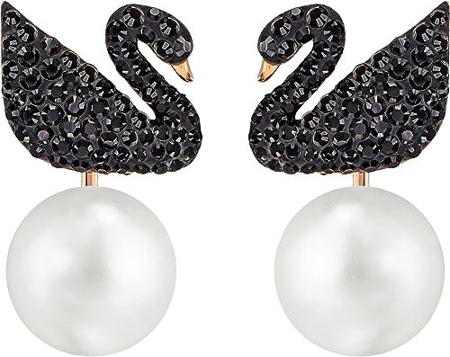Swarovski Pendientes Ear Jacket Swarovski Iconic Swan, negro, Baño en tono Oro Rosa