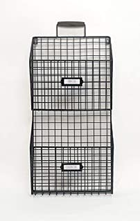 Rae Dun Wall File Holder – Two Tier Galvanized Steel Wire Rack Bins, Wooden Handle - Document and Paperwork Organization and Storage – Mounts to Wall and Doors – for Office and Home