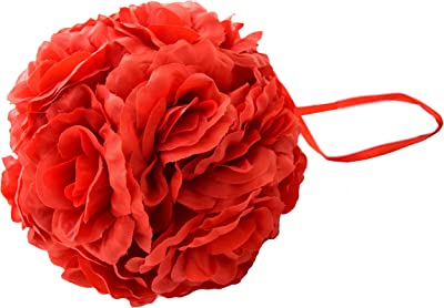 Fourwalls Decoration Artificial Synthetic Hanging Rose Flower Ball (20 cm Tall, Red)