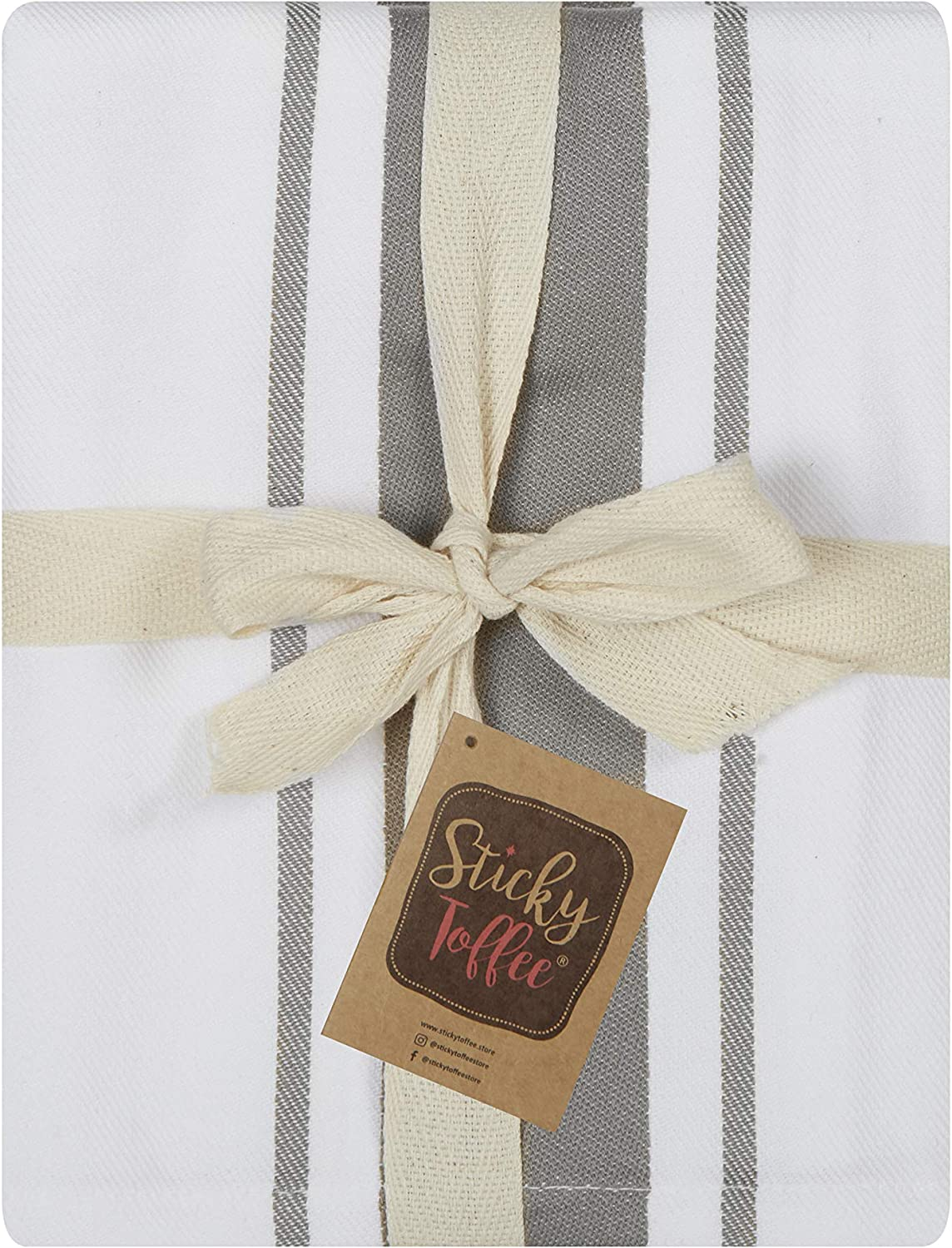 Sticky Toffee 100/% Cotton Tea Towels 5 Pack of Kitchen Towels 50 x 70 cms Black| Absorbent Restaurant Bar Glass Kitchen Cloths
