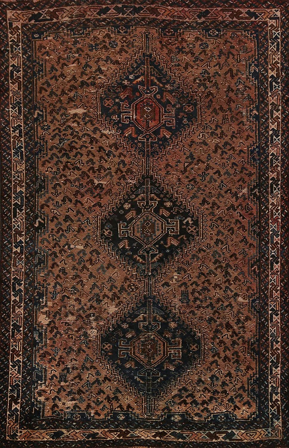 Pre-1900 Antique Vegetable Dye Geometric Oriental Area Qashqai R New Free Shipping Great interest
