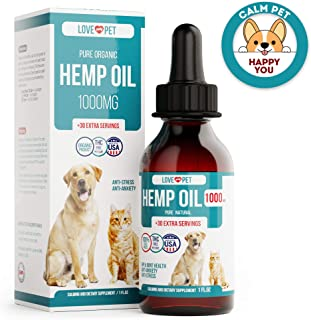 Love My Pet Hemp Oil for Dogs - Provides Anxiety Relief - Natural Support for Hip and Joint - Better Mood and Sleep - 100% Organic Treat and Food Supplement - Grown and Extracted in USA