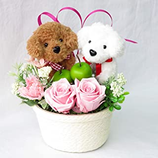 花 誕生日プレゼント女性 フラワー 誕生日 花 プリザーブドフラワー バラ フラワーアレンジメント トイプードル のペア