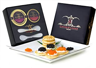 GUARANTEED OVERNIGHT! C&C Gourmet Caviar Gift Basket - 1oz Siberian Osetra - 2oz Fresh French TroutFREE 2 Mother of Pearl Spoons