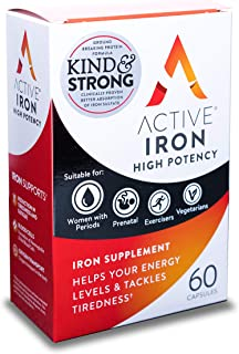 Active Iron High Potency, Non-Constipating, Iron Supplements, 25mg, 60 Capsules, Helps Strengthen Your Immune System