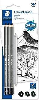 Staedtler Mars Lumograph Journey Design Charcoal 100C SBK4 - Blister Pack of 3 Assorted Graphite Pencils and 1 Blending Stump